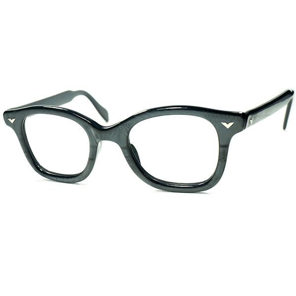 激渋トーンRARE生地採用 マニアックUSヴィンテージ 極上デッド ストック 1950s-60s USA製 オールドFRENCH PANTO系ウェリントンVヒンジ ビンテージヴィンテージ 眼鏡メガネ 44/22実寸 a5920