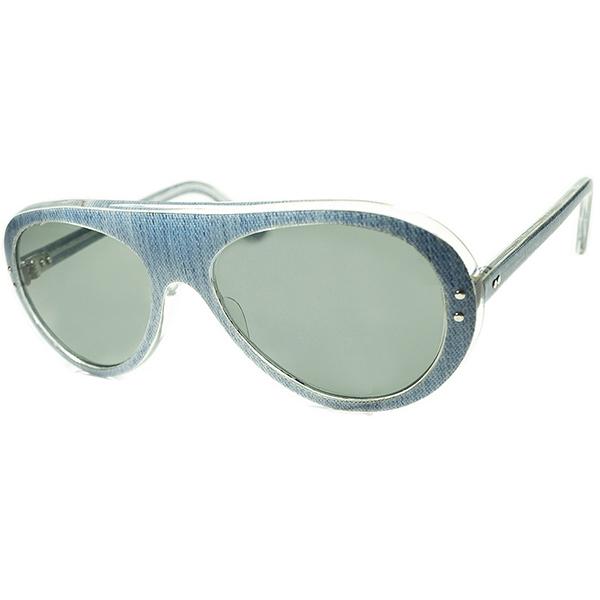 ブルース・リー愛用同一SHAPE 1960s デッドストック FRAME FRANCE フレーム フランス フランス製 色落ち系デニム柄プリント SMOKE仕様 アビエーター ガラスLENS入 ビンテージヴィンテージ 眼鏡メガネ a5929