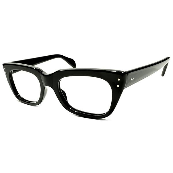 デイリーユース向MODEL 万能グッドデザイン1960s DEADSTOCK デッドストック 英国製 マイケルケインLOOK 黒 BRITISH STYLE ウェリントン ビンテージヴィンテージ 眼鏡メガネ 絶妙サイズ46/22実寸 a5930