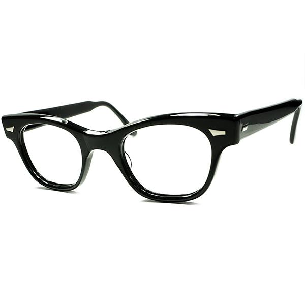 ビンテージ 超定番人気モデル 初期製造物 1950s デッドストック DEADSTOCK USA製 TART OPTICAL タートオプティカルCOUNTDOWN カウントダウン 黒ウェリントン 眼鏡 メガネ size46/24 a5936