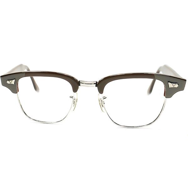 再構築NEWテイストART DECO レアデザイン 1950s-60s USA製 DEADSTOCK 鬼才 VICTORY OPTICAL 1/10 12KGF 本金張 2TONEブロータイプ ビンテージ 眼鏡 メガネ size 46/22 a5937