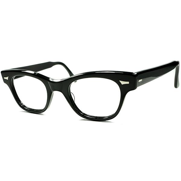 ビンテージ 眼鏡 超定番モデル初期個体 1950s デッドストックDEADSTOCK USA製 TART OPTICAL タートオプティカルCOUNTDOWN カウントダウン 黒 ウェリントン メガネ size46/22 a5938