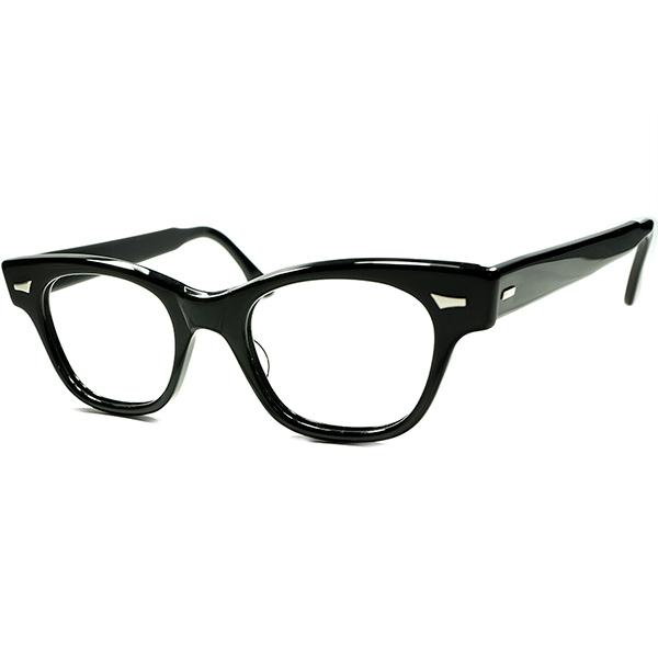 名作&定番US ビンテージ 初期個体 1950s デッドストック DEADSTOCK USA製 TART OPTICAL タートオプティカルCOUNTDOWN カウントダウン 黒 ウェリントン ビンテージヴィンテージ 眼鏡メガネ size46/20 a5939
