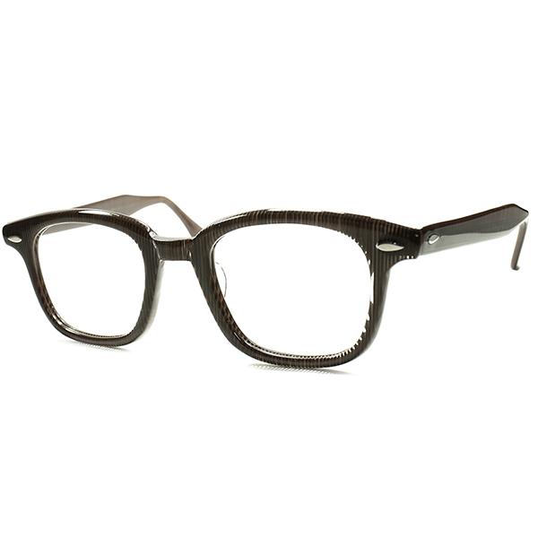 MCエッシャー全盛時代下 1950s デッドストック DEADSTOCK USA製 WAYFARER ウェイファーラーSTYLE HORNRIM ウェリントン size48/22 モザイクストライプ ビンテージヴィンテージ 眼鏡メガネ a5941