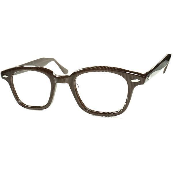 芸術的トリックアート 1950s デッドストック DEADSTOCK USA製 WAYFARER ウェイファーラーSTYLE HORNRIM ウェリントンsize46/24 モザイクストライプ ビンテージヴィンテージ 眼鏡メガネ a5942