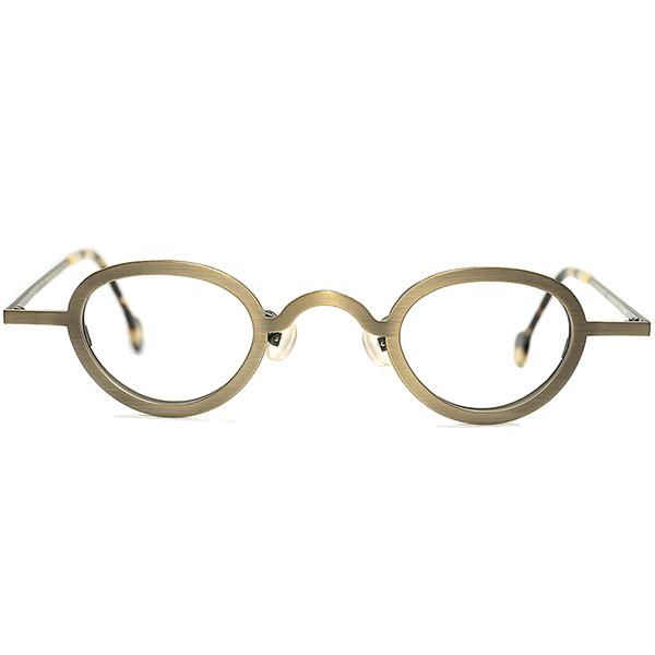 真鍮LOOK 激渋格上佇まい 1990sデッドストック ITALY製 l.a.Eyeworks アイワークスx小径アイPANTO 丸眼鏡 ラウンド 超快適FIT 実用的GOOD SIZE メガネ a5948