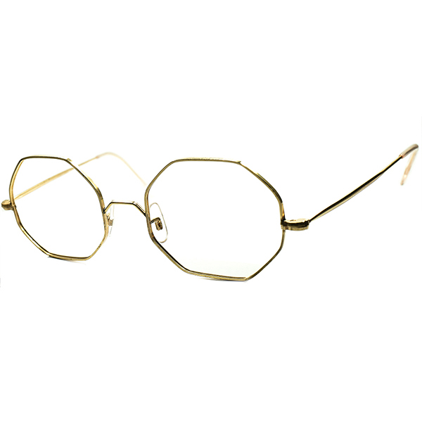 絶妙OLDテイスト 実用的グッドサイズ個体 1950s-60s DEADSTOCK デッドストック フランス製 FRAME FRANCE 八角形 GOLD METAL オクタゴン ビンテージ 眼鏡 メガネ 実寸48/20 A5957