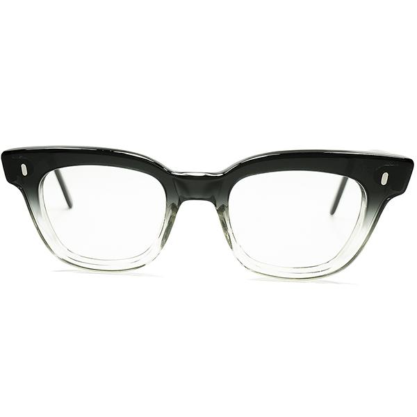 典型的BRITISH LOOK グッドサイズ個体 1960s デッドストック DEADSTOCK 英国製 BLACK FADE 流線型MINIMAL ウェリントン size44/22 ビンテージ 眼鏡 メガネ a5971