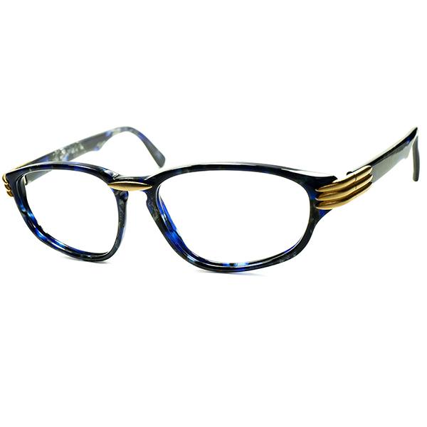 アンティークJEWERYインスパイア 超高精度xハイデザイン 1980s-90s フランス製 デッドストック LANVIN ランバン LAPIS xGOLD ウェリントン ビンテージ 眼鏡 メガネ a5972