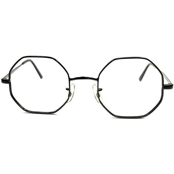 実験的MADルック最初期BLACKペイント 1950s- 60s フランス製 デッドストック DEADSTOCK FRAME FRANCE ブラックラッカー OCTAGON オクタゴン ビンテージ 眼鏡 メガネ a5977