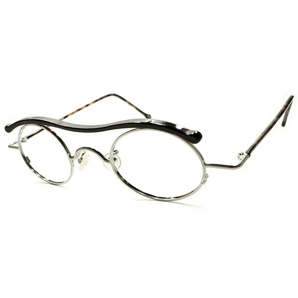 実用的ART PIECE デッドストック 1990s イタリア製 MADE IN ITALY l.a.Eyeworks 意欲作 UPPER BRIDGE コンビネーション DARK DEMI×SILVER ラウンド ビンテージヴィンテージ 眼鏡メガネ 丸眼鏡 A5037