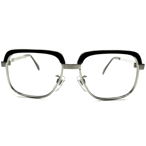 シール付完品デッドストック 1970s 西ドイツ製 MADE IN WEST GERMANY 老舗 METZLER メッツラー BLACK×2TONE SILVER コンビネーション スクエアフレーム size52/16 ヴィンテージ メガネ 眼鏡 A5088