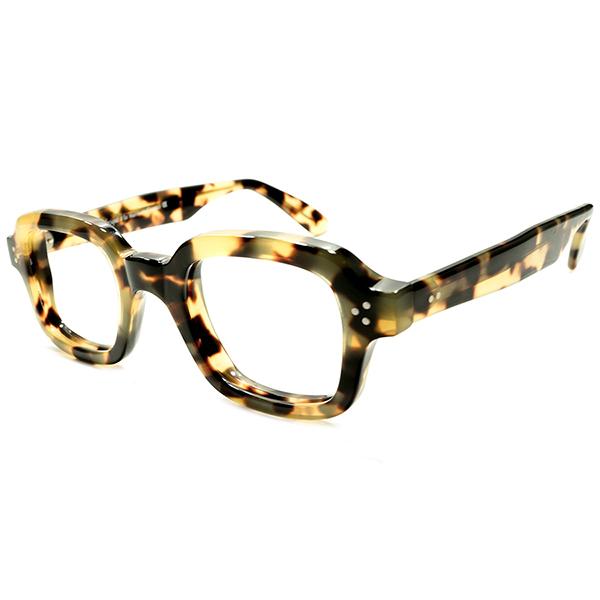 超理想的実寸44/25&秀逸革新的シェイプ デッドストック 1980s ハンドメイド フランス製 HAND MADE IN FRANCE 6mm厚 3DOTヒンジ 斑鼈甲柄 スクエア系 ウェリントン ヴィンテージ メガネ 眼鏡 A5096
