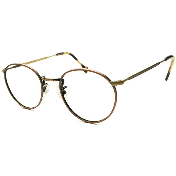 超GOOD SIZE実寸44/22 デッドストック 1990s イタリア製 LA EYEWORKS 燻2TONE BROWN×AMBER 彫金模様入 FUL-VUE STYLE ラウンド ヴィンテージ メガネ 丸眼鏡 A5111