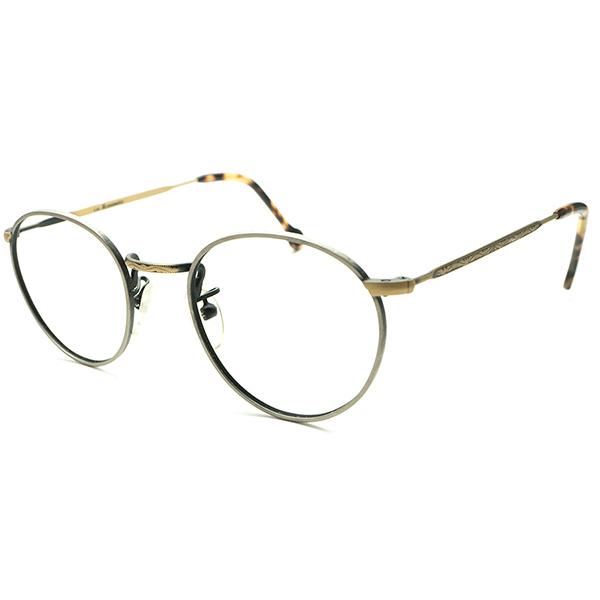 精巧CLASSIC配色&超デイリー向サイズ デッドストック 1990s イタリア製 MADE IN ITALY l.a.Eyeworks 2トーン真鍮LOOKメタル 彫金 FUL-VUE STYLEラウンド 実寸44/22ヴィンテージ メガネ 丸眼鏡 A5112