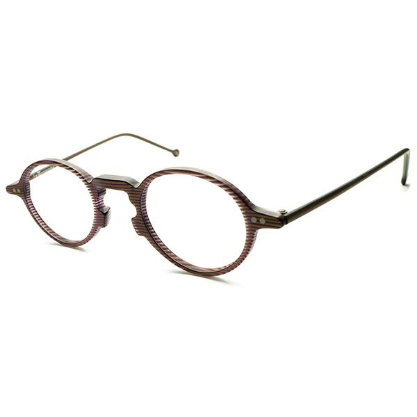 超優秀フォルム&現代的快適SIZE デッドストック 1990s イタリア製 MADE IN ITALY l.a.Eyeworks キーホール BRONZE×紫のストライプ ラウンドフレーム 実寸39/25 ビンテージヴィンテージ 眼鏡メガネ 丸眼鏡 A5116