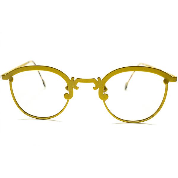 秀逸POPカラー&超GOOD SIZE デッドストック 1990s イタリア製 MADE IN ITALY l.a.Eyeworks マスタードYELLOW×鼈甲 アールデコBRIDGE仕様 PANTOブロー 実寸44/25 ビンテージヴィンテージ 眼鏡メガネ 丸眼鏡 A5122