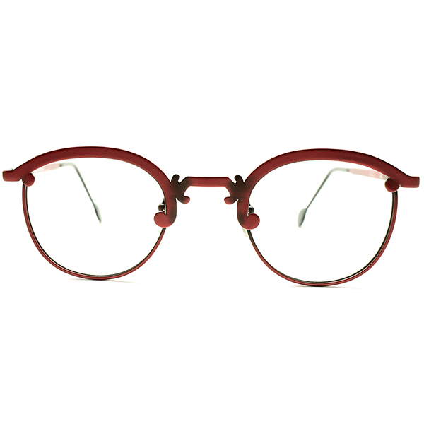ONLY ONEデザイン デッドストック 1990s イタリア製 MADE IN ITALY l.a.Eyeworks アールデコ調ブリッジ ALLルージュレッド合金仕上げ パント×ブロー ヴィンテージ メガネ 眼鏡 調実用的 実寸44/25 A5134