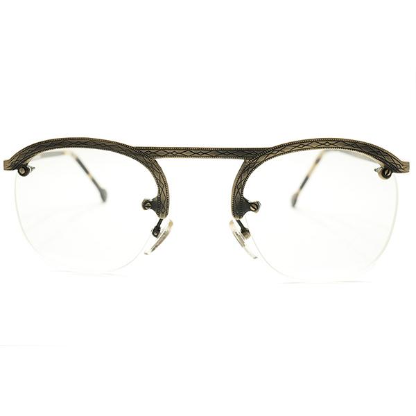 荘厳ALL彫金模様入 デッドストック 1980s イタリア製 MADE IN ITALY 初期 l.a.Eyeworks 即着用可 UPPER BRIDGE×FUL-VUEマウント 真鍮色 リムレス パント ビンテージヴィンテージ 眼鏡メガネ 実寸47/25 良好サイズ A5146