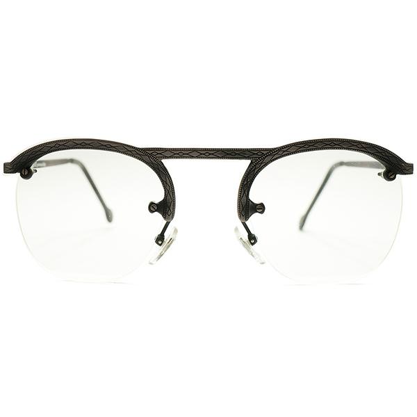 古典的ディテール導入 デッドストック 1980s イタリア製 MADE IN ITALY l.a.Eyeworks 総彫金模様 UPPER BRIDGE×FUL-VUEマウント リムレス パント ヴビンテージヴィンテージ 眼鏡メガネ GOODSIZE 実寸47/25 A5147