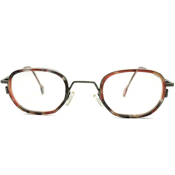 現代美術的高配色 デッドストック 1990s イタリア製 MADE IN ITALY l.a.Eyeworks 彫金インナーリム×変形オーバル型 ART MIX×BRONZE ビンテージヴィンテージ 眼鏡メガネ 42/24 極上GOOD FIT A5149