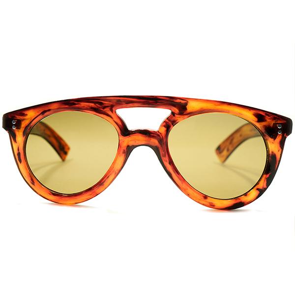 即着用可EARLY AVIATORインスパイア デッドストック 1940s フランス製 MADE IN FRANCE 極太芯なしテンプル W-BRIDGE 肉厚 手塗り風AMBER アビエーター FLATガラスレンズ入 サングラス ヴィンテージ メガネ 眼鏡 A5186