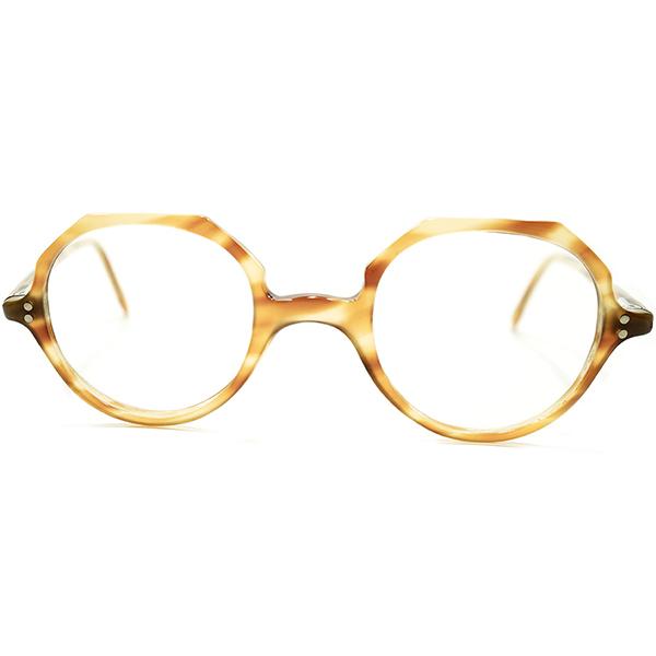 英国的解釈希少タイプ 1940s-1950s 英国製 MADE IN UK ミドルブリッジ BLONDE AMBER 鼈甲柄 クラウンパント ビンテージヴィンテージ 眼鏡メガネ 小顔向サイズ A5189