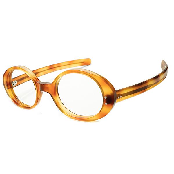 V&A収蔵 OLIVER GOLDSMITH オリバーゴールドスミス 名作モデル Milinaire 同型個体 1960s 英国製 肉厚 OVALラウンド×ストレートテンプル ヴィンテージ 眼鏡 丸メガネ 実寸46/22 デッドストック A5192