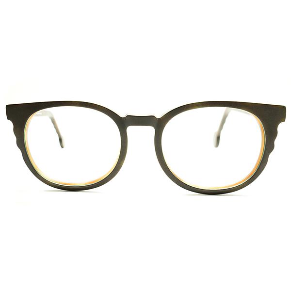 大胆発想凹凸WAVEデザイン デッドストック 1990s イタリア製 MADE IN ITALY l.a.Eyeworks 3層レイヤード 表面艶消DARK BROWN ウェリントン ビンテージヴィンテージ 眼鏡メガネ 実寸46/22 GOOD SIZE A5198