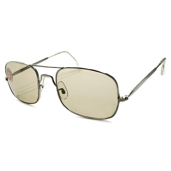 シール付デッドストック&超GOOD SIZE 1950s-1960s フランス製 MADE IN FRANCE W-BRIDGE スクエア型 アビエーター AVIATOR STYLEフレーム BROWNガラスレンズ入 ヴィンテージ メガネ 眼鏡 サングラス A5207