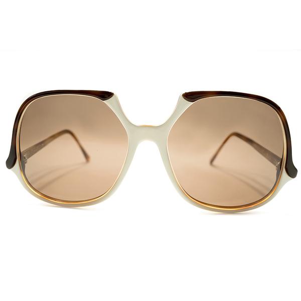 当時的モードデザイン 1970s デッドストック 英国製 MADE IN ENGLAND OLIVER GOLDSMITH オリバーゴールドスミス FIJI スカルシェイプ 3TONE DEMI×WHITE×AMBER ヴィンテージ サングラス 眼鏡 A5211