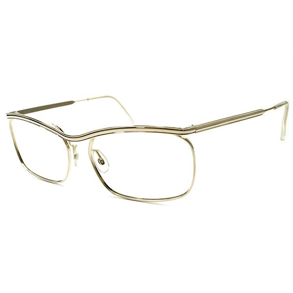 圧倒的優美 デッドストック 1950s-1960s フランス製 MADE IN FRANCE ミニマルルック AMOR STYLE アモール ALL ゴールドメタル ヴィンテージ メガネ 眼鏡 実寸54/18 超GOOD SIZE A5261