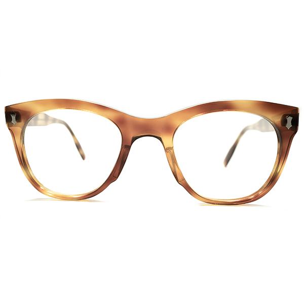 ストレス皆無 極上サイズ実寸46/24 黄金期 1950s フランス製 MADE IN FRANCE 縦型Wダイヤヒンジ ウェリントン型 パント ヴィンテージ メガネ 眼鏡 A5280 デッドストック
