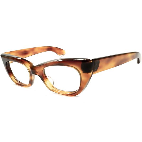 ハイレベル造形 1940s-1950s 英国製 MADE IN UK OLDオリバーゴールドスミスSTYLE 立体的CUTTING ヒンジレス ウェリントン 超極上個体 ヴィンテージ 眼鏡 メガネA5313