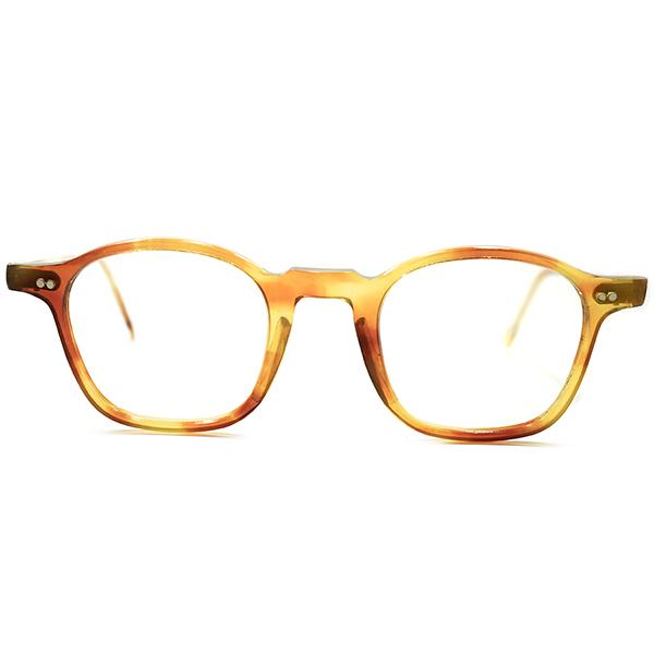 名作生地採用 1950s 黄金期 フランス製 MADE IN FRANCE キャラメル系AMBER 細身 NARROW フレンチアーネル 実寸41/23 GOOD SIZE ヴィンテージ メガネ 眼鏡 A5323