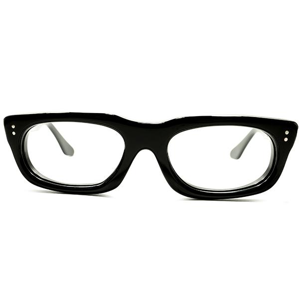 最大厚7mm硬質セル生地採用 デッドストック 1950s 英国製 MADE IN UK ミニマル 極艶黒 黒 ウェリントン 48/20 良好サイズ ビンテージヴィンテージ 眼鏡メガネ A5324