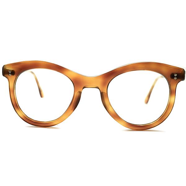 流線型美シルエット黄金期 1950s フランス製 MADE IN FRANCE 2ドット 鼈甲柄 CLASSIC PANTO ビンテージヴィンテージ 眼鏡メガネ 実寸43/24 GOOD FIT A5325