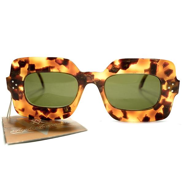 英眼鏡史重要メーカー渾身作品 完品デッドストック 1980s-1990s 英国製 MADE IN ENGLAND アングロアメリカン ANGLO AMERICAN EYEWEAR 薄型超幅広リム 3DOT 実用的アバンギャルドシェイプ ヴィンテージ メガネ 眼鏡 サングラス 実寸44/22 A4422