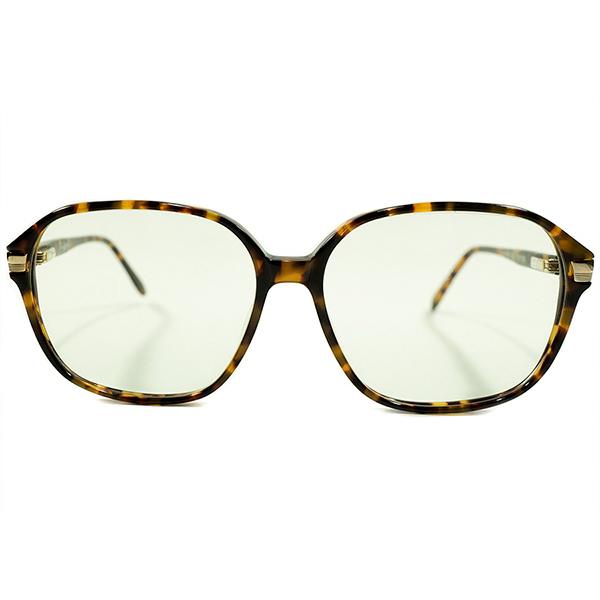 現代的サングラス仕様 デッドストック 1980s 英国製 MADE IN ENGLAND オリバーゴールドスミス OLIVER GOLDSMITH LEOPARD系鼈甲生地 バネ蝶番式 ナローウェリントン ヴィンテージ 眼鏡 サングラス 日本製G31ガラスレンズ入 A4443