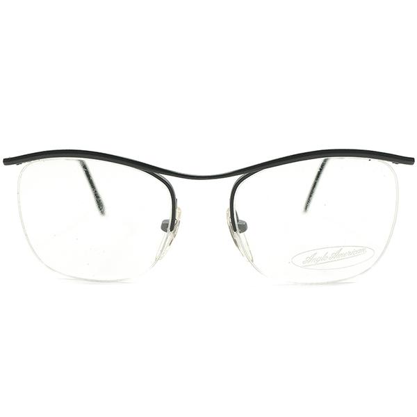 MODERN COLOR デッドストック 1980s イタリア製 MADE IN ITALY アングロアメリカン ANGLO AMERICAN MATT GREY 名作オマージュ CARLTON TYPE ナイロール ヴィンテージ メガネ 眼鏡 A4585