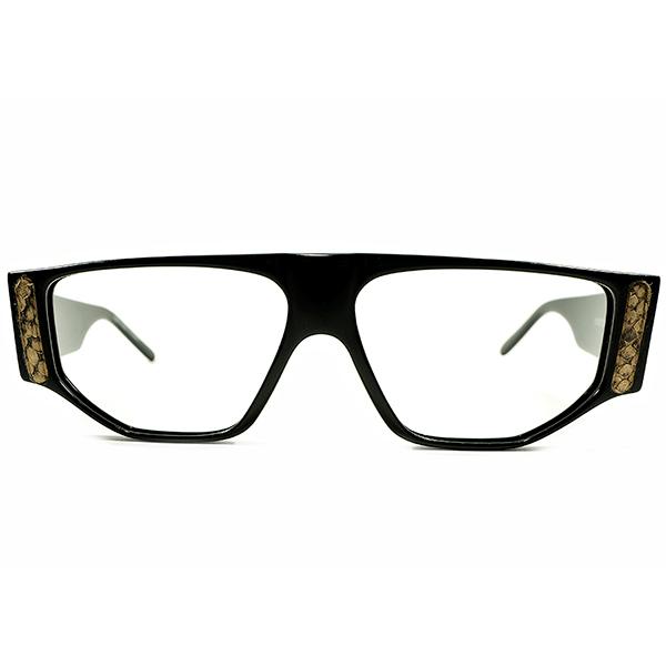 LUXURY デッドストック 1980s フランス製 HAND MADE IN FRANCE EMMANUELLE KHAN エマニュエルカーン OLD SCHOOL パイソン×ブラック ヴィンテージ サングラス 眼鏡 A4589
