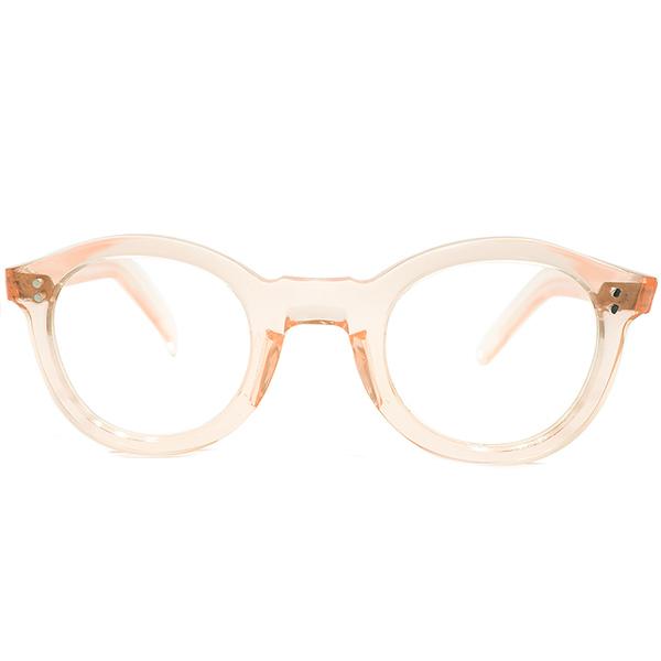 黄金期フラット構造 デッドストック 1950s フランス製 MADE IN FRANCE 2ドット FRESH PINK 平面カッティング パントシェイプ ヴィンテージ 眼鏡 メガネ 実寸42/26 A4596
