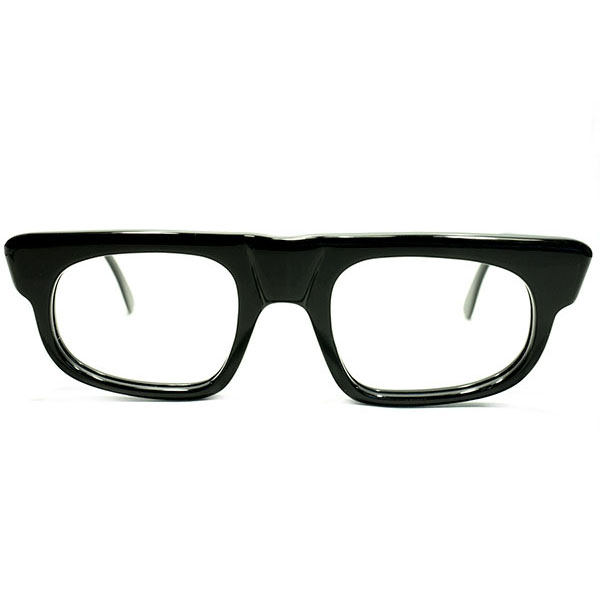 超GOOD SIZE&ハイクオリティ デッドストック 1960s 英国製 MADE IN ENGLAND UPPER BRIDGE ヒンジレス 変形 極艶BLACK ウェリントン size48/22 ヴィンテージ メガネ 眼鏡 イギリス UK A4609