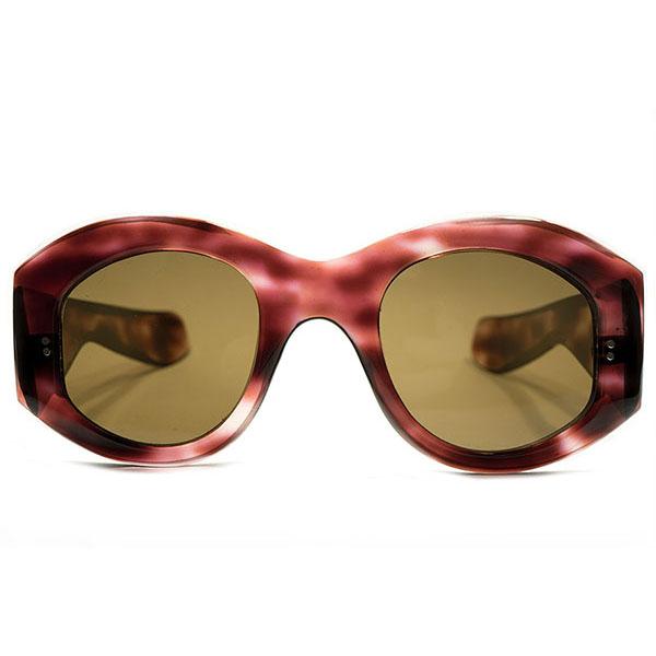 黄金期源流TRUE ART PIECE デッドストック 1940s フランス製 MADE IN FRANCE 薄型FLATフロント×超極太テンプル BORDEAUX 鼈甲柄 PRE-MODE OLDパントフレーム ブラウンガラスレンズ入 実寸size46/25 ヴィンテージ メガネ 眼鏡 サングラス A4634
