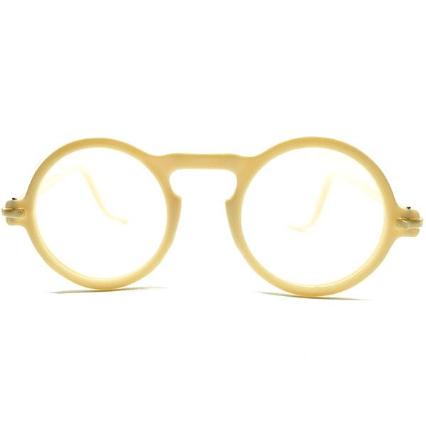 EARLY AMERICAN変わり種 デッドストック 1930s-1940s アメリカ製 MADE IN USA アイボリー UPPER BRIDGE 金色ピン差テンプル 正円 ラウンド ヴィンテージ 眼鏡 丸メガネ A4639