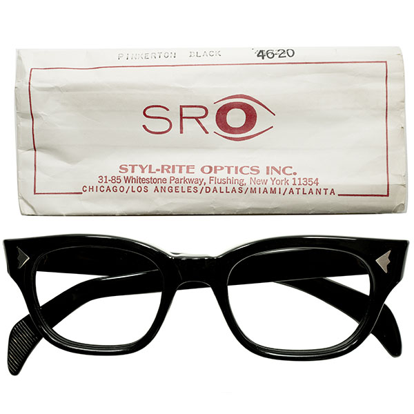 スリーブ付デッドストック 1960s アメリカ製 MADE IN USA SRO STYL RITE OPTICS 希少デイリーモデルPINKERTON 黒 BLACK 肉厚ウェリントン ヴィンテージ メガネ 眼鏡 size44/20 A4646