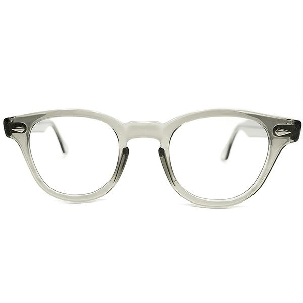 良質ヴィンテージ×44/22 GOOD SIZE 極上 1950s-1960s USA製 MADE IN USA ダイヤヒンジ ARNEL型 SAFETY GRAY ホーンリム ウェリントンフレーム ヴィンテージ 眼鏡 メガネ A4654