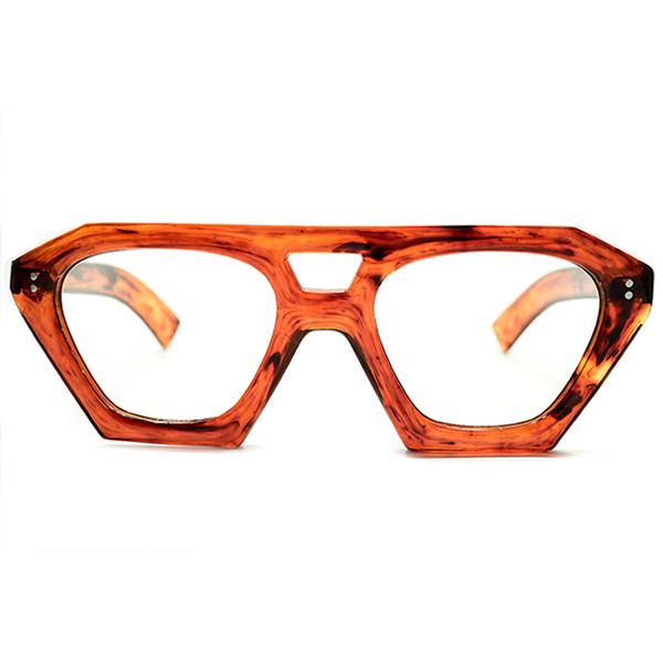 OLD STYLEレアシェイプ デッドストック 1940s フランス製 MADE IN FRANCE 極太芯なしテンプル仕様 W-BRIDGE 肉厚 クラウンパント CROWN PANTO 手塗り風AMBER 50/22 ヴィンテージ メガネ 眼鏡 A4681