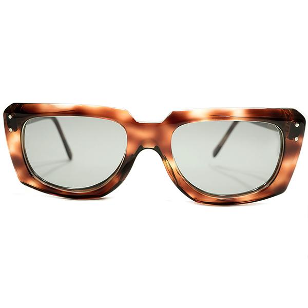 定番×AVANT-GARDEシェイプ 1960s USA製 MADE IN USA アメリカンオプティカル AO AMERICAN OPTICAL 立体CUTTING 鼈甲柄 ウェリントン サングラス 51/20 日本製ライトグレーガラスLENS ビンテージヴィンテージ 眼鏡メガネ A4709