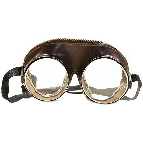 1930s-1940s アメリカ製 MADE IU NSA WILLSON ブラウンラバー×コーデュロイトリム×100%コットンアジャスター インダストリアル ヴィンテージ ゴーグル オリジナル平面ガラスレンズ入り A4717
